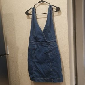 Indigo wash free people overall dress!